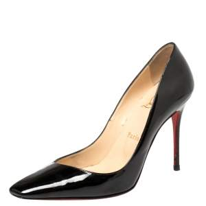 Christian Louboutin Black Patent Particule Square Toe Pumps Size 37