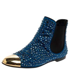 Giuseppe Zanotti Blue/Black Suede Studded Ankle Boots Size 38