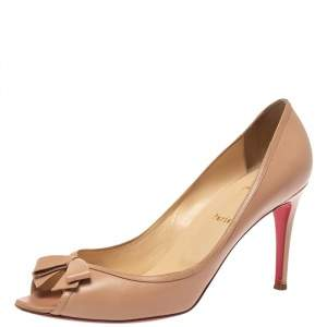 Christian Louboutin Beige Leather Milady Bow Open Toe Pumps Size 41