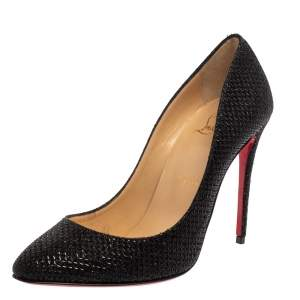 Christian Louboutin Metallic Black Fabric Eloise Pumps Size 37.5