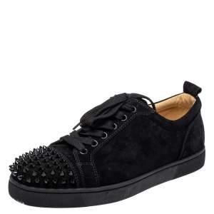 Christian Louboutin Black Suede Louis Junior Sneakers Size 39