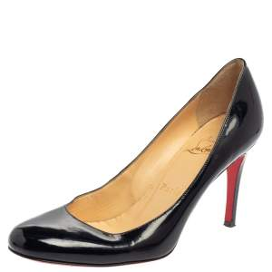 Christian Louboutin  Black Patent Leather Simple Pumps Size 37
