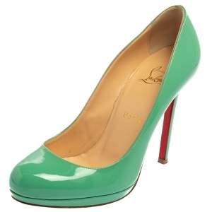 """حذاء كعب عالي كريستيان لوبوتان """"نيو سيمبل"""" نعل سميك جلد لامع أخضر مقاس 38"""