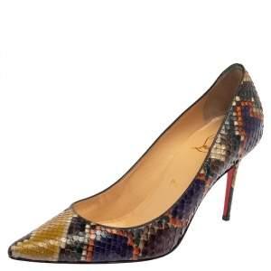 Christian Louboutin Multicolor Python Leather So Kate Pumps Size 37