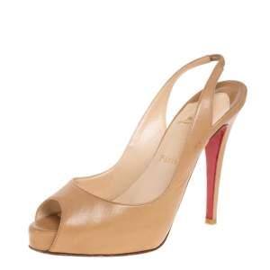 Christian Louboutin Beige Leather N°Prive Peep Toe Slingback Sandals Size 38