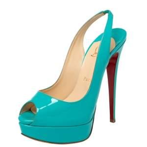 Christian Louboutin Blue Patent Leather Lady Peep Platform Sandals Size 38