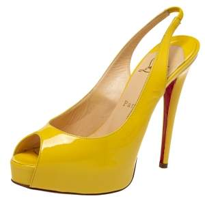 Christian Louboutin Yellow Patent Leather Private Number Slingback Sandals Size 38