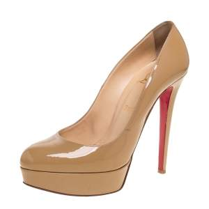 Christian Louboutin Beige Patent Leather Bianca Pumps Size 40.5
