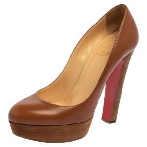 حذاء كعب عالي كريستيان لوبوتان كعب عريض جلد بني مقاس 38.5