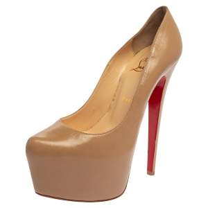 Christian Louboutin Beige Leather Daffodile Platform Pumps Size 38.5