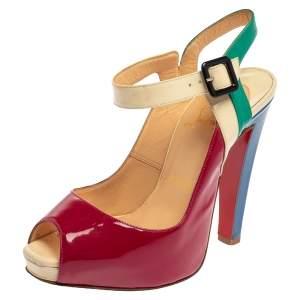 Christian Louboutin Multicolor Patent Leather Peep Toe Platform Slingback Sandals Size 36.5