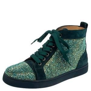 حذاء رياضي كريستيان لوبوتان برقبة عالية لويس ستراس سويدي أزرق مقاس 37
