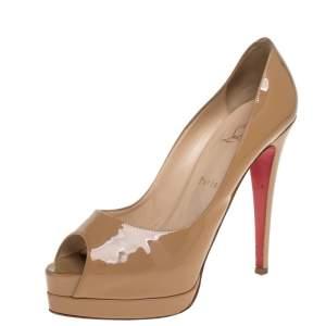 حذاء كعب عالي كريستيان لوبوتان فيري بريف جلد لامع بيج مقاس 39.5