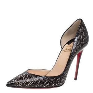 حذاء كعب عالي كريستيان لوبوتان إيريزا جلد أسود لامع مقاس 36.5