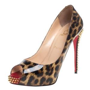 Christian Louboutin Brown/Beige Leopard Print Patent Leather New Very Prive Spikes Platform Pumps Size 39.5