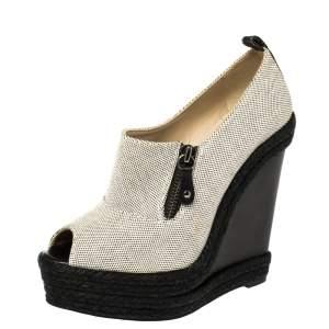 Christian Louboutin White/Black Canvas Deroba Wedge Peep Toe Pumps Size 37