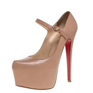 حذاء كعب عالي كريستيان لوبوتان نعل سميك ماري جين جلد بيج مقاس 37.5
