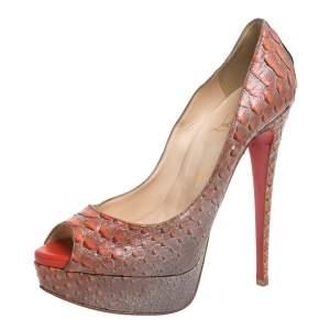 حذاء كعب عالى كريستيان لوبوتان مقدمة مفتوحة  ليدى جلد ثعبان رمادى / برتقالى مقاس 38