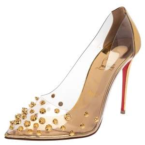 Christian Louboutin Gold Leather And PVC Collaclou Spiked Pumps Size 40