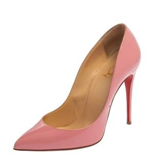 Christian Louboutin Pink Patent Leather Pigalle Follies Pumps Size 38