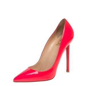 Christian Louboutin Neon Pink Patent So Kate Pointed Toe Pump Size 37.5