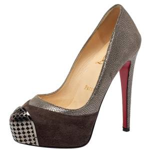 Christian Louboutin Two Tone Textured Suede Maggie Embellished Cap Toe Platform Pumps Size 35