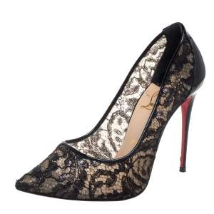 Christian Louboutin Black Lace and Patent Leather Follies Pointed Toe Pumps Size 38.5