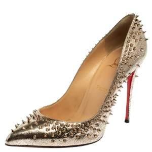 حذاء كعب عالى كريستيان لوبوتان سبايك إسكاربيك جلد ذهبى مقاس 39.5