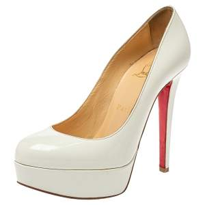 Christian Louboutin White Patent Leather Bianca Platform Pumps Size 36.5