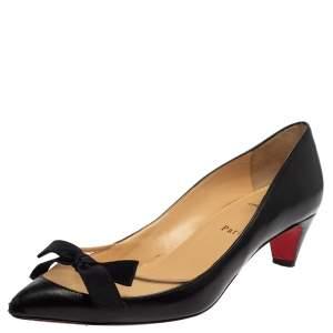 Christian Louboutin Black Leather And Mesh Minima Pumps Size 38.5
