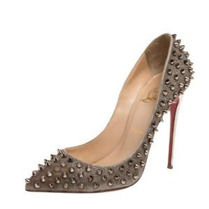 Christian Louboutin Metallic Leather Pigalle Spikes Pumps Size 39.5