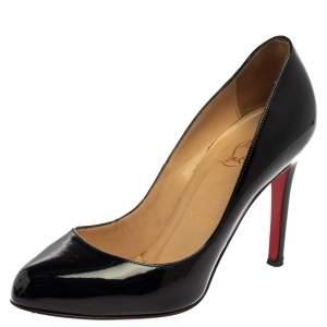 Christian Louboutin Black Patent Leather Simple Pumps Size 36.5