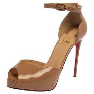 Christian Louboutin Beige Patent Leather  Aketata Peep Toe Ankle Wrap Pumps Size 37.5