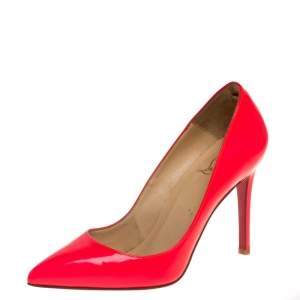 Christian Louboutin Neon Pink Leather Pigalle Pointed Toe Pumps Size 36.5