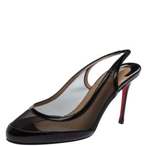 Christian Louboutin Black Patent Leather And Mesh Slingback Sandals Size 37