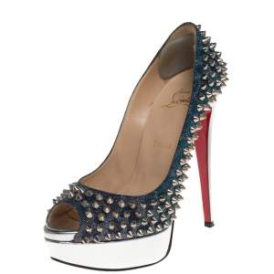 Christian Louboutin Multicolor Lame Fabric And Leather Lady Peep Toe Spike Platform Pumps Size 37.5