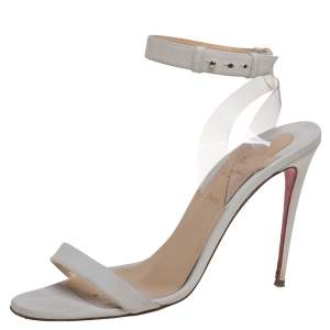 Christian Louboutin Off White Leather And PVC Jonatina Sandals Size 41