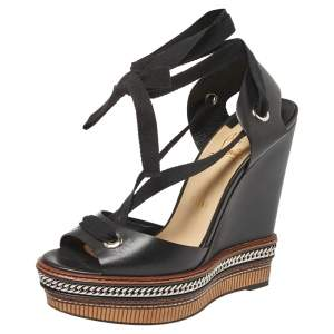 Christian Louboutin Black Leather Tribuli Wedge Sandals Size 40