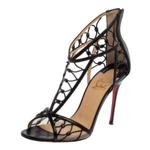 Christian Louboutin Black Leather Martha Lattice Sandals Size 39.5