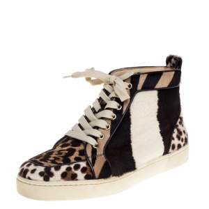 Christian Louboutin Brown/White Leopard Print Calf Hair Rantus Orlato High Top Sneakers Size 39