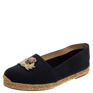 Christian Louboutin Navy Blue Canvas Gala Embroidered Crest Espadrilles Size 39