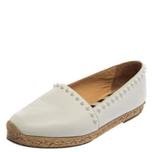 Christian Louboutin White Leather Melides Spike Trim Flat Espadrilles Size 39