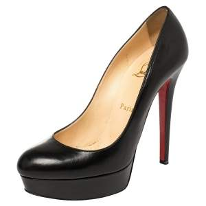 Christian Louboutin Black Leather Bianca Platform Pumps Size 38.5