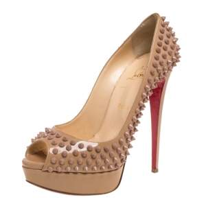 Christian Louboutin Nude Patent Leather Lady Peep Toe Spikes Platform Pumps Size 40