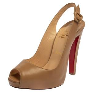 Christian Louboutin Nude Leather Platform  Slingback Pumps Size 39.5