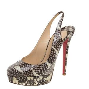 Christian Louboutin Grey/White Python Leather Bianca Slingback Pumps Size 40