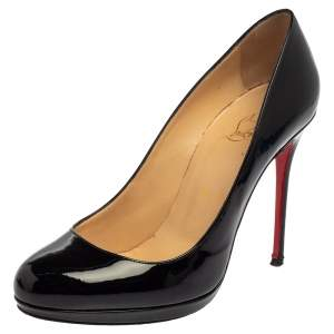 Christian Louboutin Black Patent Leather New Simple Pumps Size 38.5