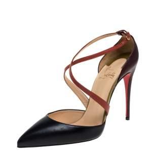 حذاء كعب عالي كريستيان لوبوتان دورسي بسيور متعاكسة جلد أسود مقاس 38.5