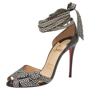 Christian Louboutin Black/monochrome Leather And Fabric Christeriva  Ankle Wrap Sandals Size 39