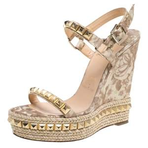 Christian Louboutin Cream/Brown Patent Leather Studded Wedge Sandals Size 39